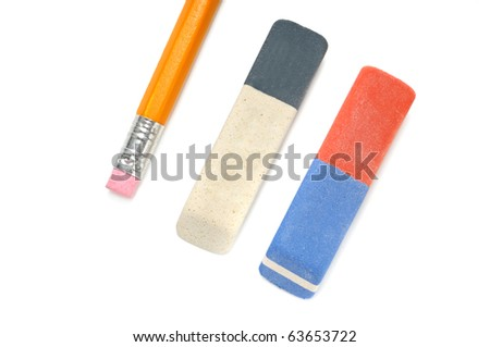 Pencils and  eraser isolated on a white background - stock photo