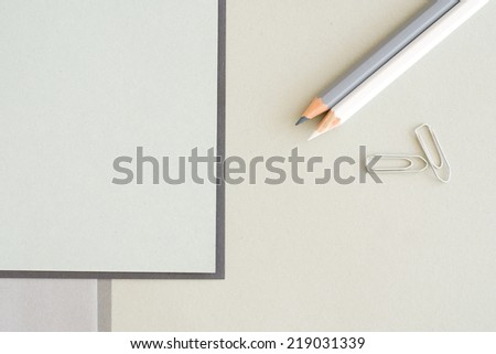 pencils and paper sheets - stock photo