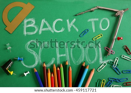 Pencils and the text back to school