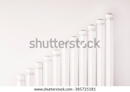 Pencils arrange as a rising graph, or abstract steps and stairs , 3d rendered - stock photo