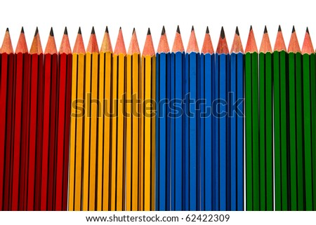 Pencils Blue Red and Yellow Isolated on White Background and reflected grey