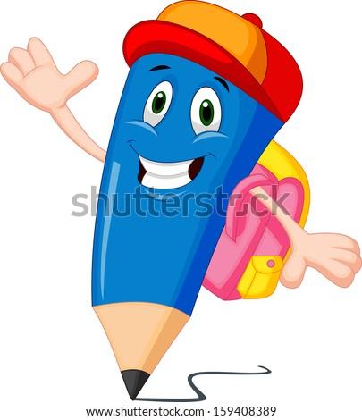 Pencils cartoon with school bags - stock photo