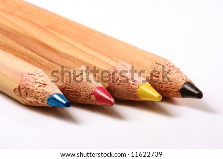 Pencils CMYK: cyan, magenta, yellow and black - stock photo