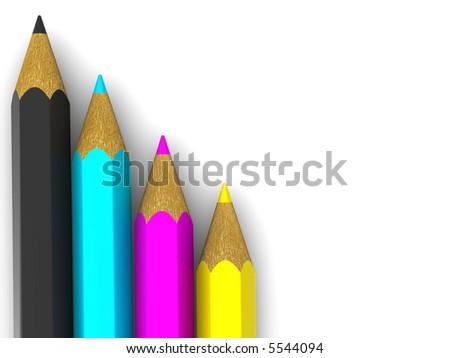 Pencils. CMYK. 3d - stock photo