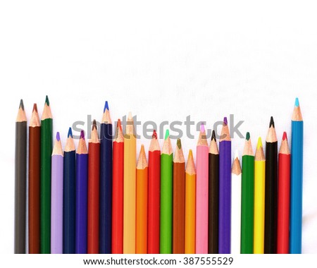 Pencils Colour isolated on white background with sapce of text - stock photo