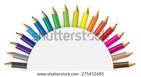 Pencils colour with semicircular concept - stock photo