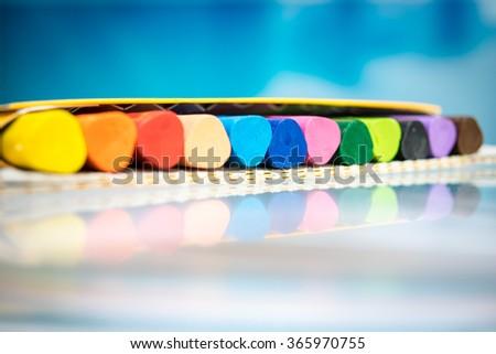 pencils crayons wax set - stock photo