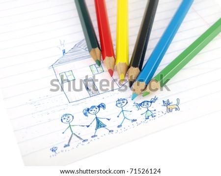 pencils drawing - stock photo