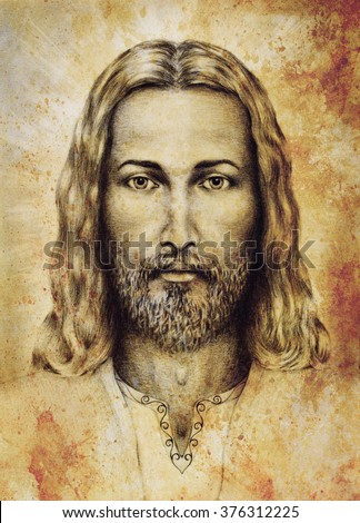 pencils drawing of Jesus on vintage paper. with ornament on clothing. Old sepia structure paper. Eye contact. Spiritual concept. - stock photo