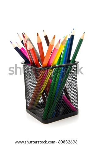 pencils in a basket on a white background - stock photo