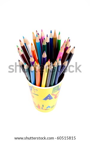 pencils in glass on white background - stock photo