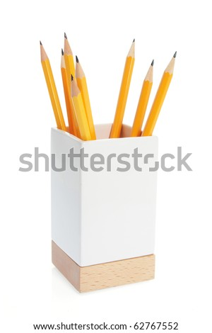 Pencils in Holder on White Background - stock photo