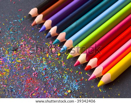 pencils in the line with color shaving