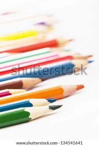 Pencils isolated on white background - stock photo