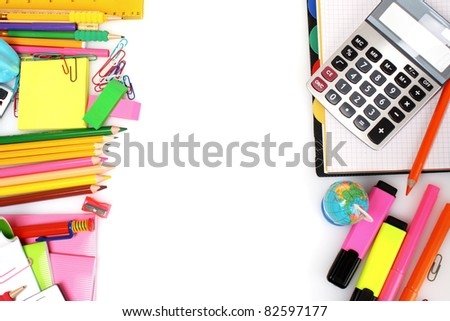 pencils, markers and paper isolated on white