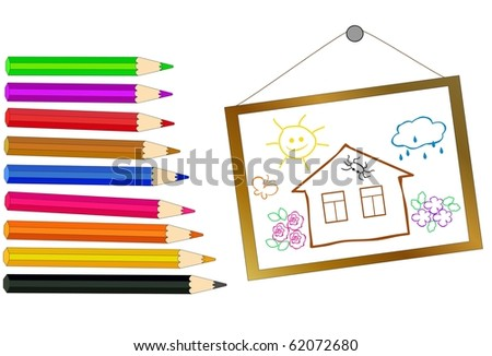 pencils of different colors and a hand-drawn picture - stock photo