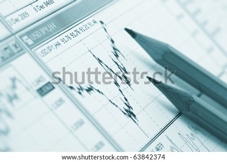 pencils on the diagram - stock photo