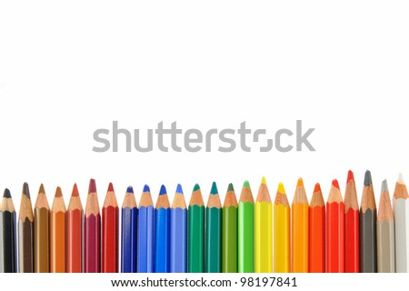Pencils on the white background - stock photo