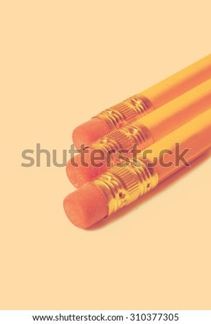 pencils on white background retro - stock photo