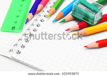 pencils, ruler and eraser - stock photo