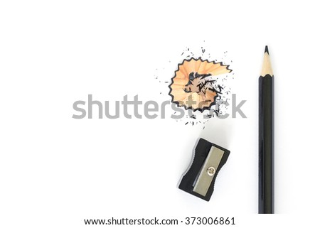 pencils , sharpener shave black drawing on white background - stock photo