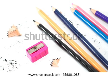 pencils , sharpener shave drawing on white background