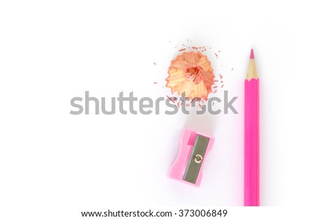 pencils , sharpener shave pink drawing on white background - stock photo