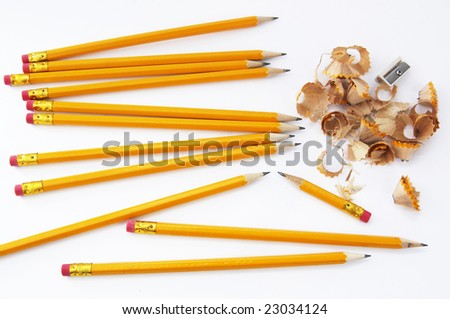 Pencils sharpening and shavings