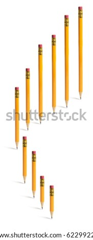 Pencils Standing on Isolated White Background