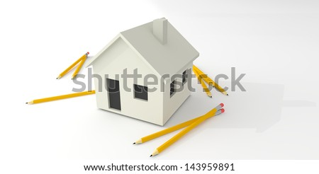 Pencils Surrounding Simple White House