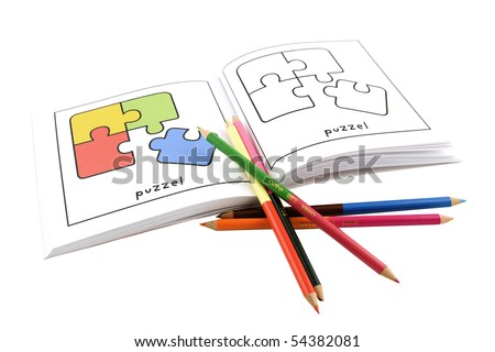 pencils with coloring book isolated on white background - stock photo