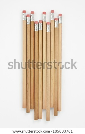 pencils with erasers isolated on white - stock photo