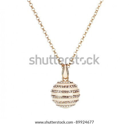 Pendant in form of ball with gem isolated on white - stock photo