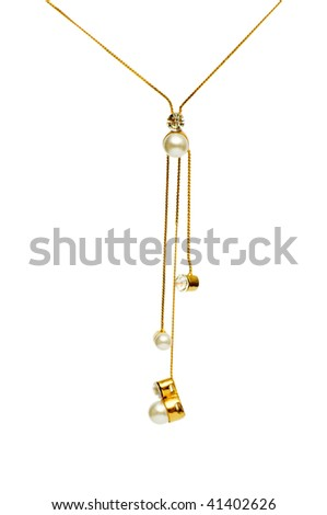 Pendant on golden chain isolated on the white - stock photo