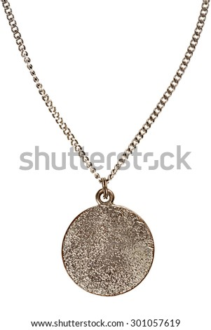 Pendant on silver chain isolated on white background - stock photo
