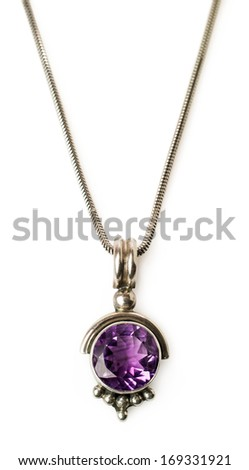 pendant with amethyst and chain isolated on white - stock photo
