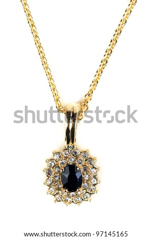 Pendant with gold chain isolated on white - stock photo