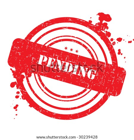 Pending stamp isolated on white with grunge texture - stock photo