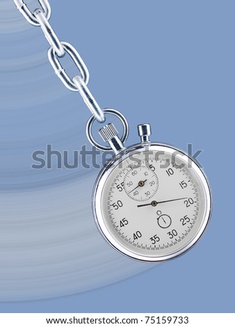 Pendulum consisting of a stop watch on a chain with movement trace - stock photo