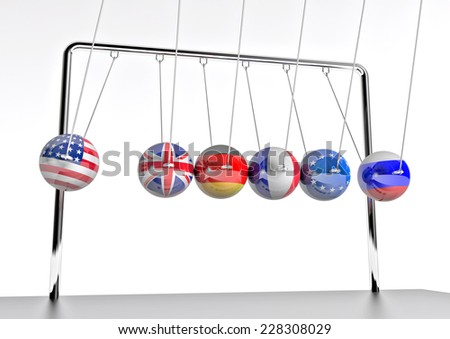 pendulum - mutual influence of world powers - stock photo