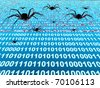 Penetration into a computer of a virus from Internet - stock vector