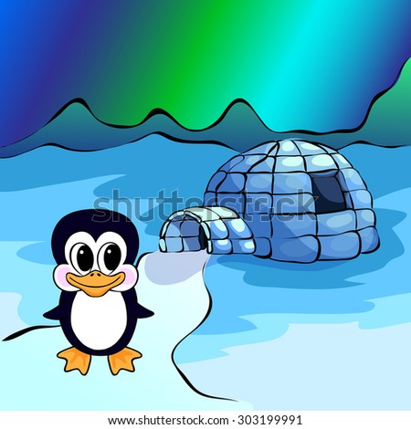 Penguin, ice yurt igloo and nothern lights. Illustration