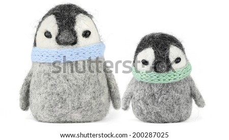 penguin isolated on the white background, handmade - stock photo