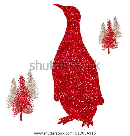 Penguin Red Glitter Christmas Holiday Sparkle Silhouette With Christmas Trees