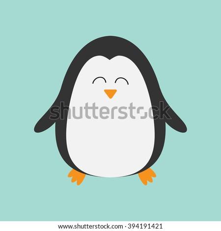 Penguin smiling face. Cute cartoon character. Arctic animal collection.  Baby bird. Flat design - stock photo