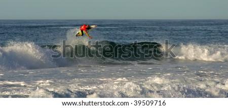 PENICHE - OCTOBER 24: Mick Fanning, Australian surfer, in RipCurl Pro Search 2009 on October 24, 2009 in Peniche, Portugal. - stock photo
