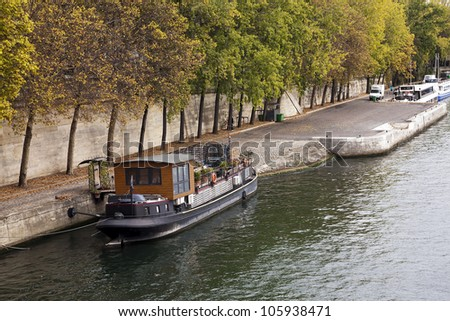Peniche on the Seine - stock photo