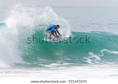 PENICHE, PORTUGAL - OCTOBER 23, 2015: Adrian Buchan (AUS) during the Moche Rip Curl Pro Portugal, Men's Samsung Galaxy Championship Tour #10.