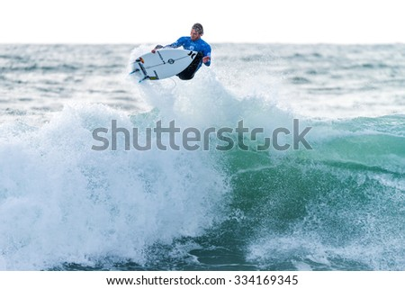 PENICHE, PORTUGAL - OCTOBER 30, 2015: Brett Simpson (USA) during the Moche Rip Curl Pro Portugal, Men's Samsung Galaxy Championship Tour #10.