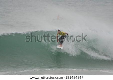 PENICHE, PORTUGAL - OCTOBER 14 : Brett Simpson (USA) during the Rip Curl men's Pro Portugal, October 14, 2012 in Peniche, Portugal - stock photo